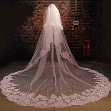 2016 Cathedral Long Wedding Veil Custom Made 5 Meter Cheap Wedding Accessories With Applique Sequins Voile Mariage Bridal Veils