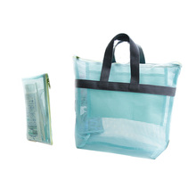 2PCS Women Handy Pouch Organizer Travel Handbags Waterproof Clothing Wash Bags Portable Beach large Cosmetic Bag Iconic Mesh(China (Mainland))
