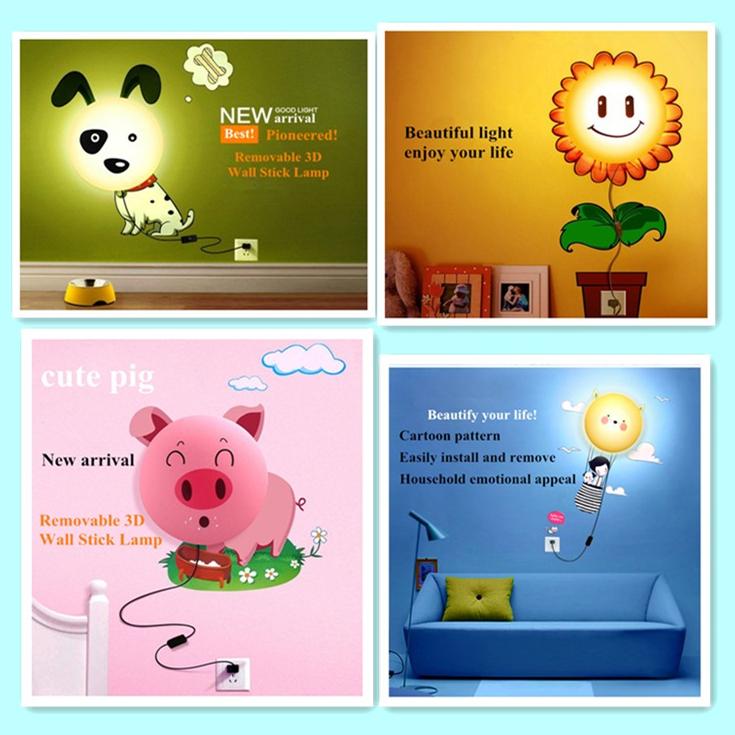 Diy Paper Wall Lamps 3D Sticker Wallpaper Light Children 4 Chioces Dog/Pig/SunFlower/Girl Kids Room Gift