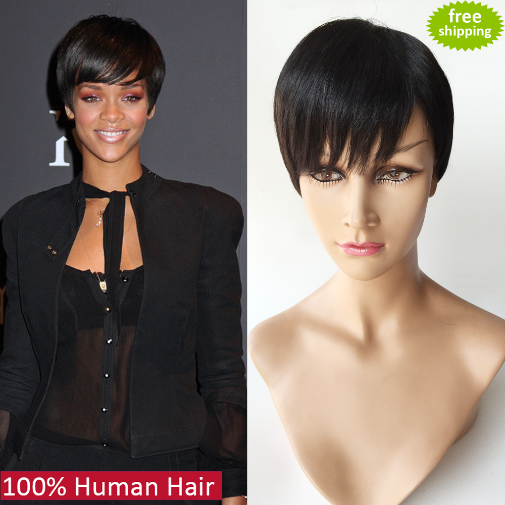 100% unprocessed 7A top grade front full lace human hair wigs machine made glueless Rihanna Chic Cut Short Wigs for black women(China (Mainland))