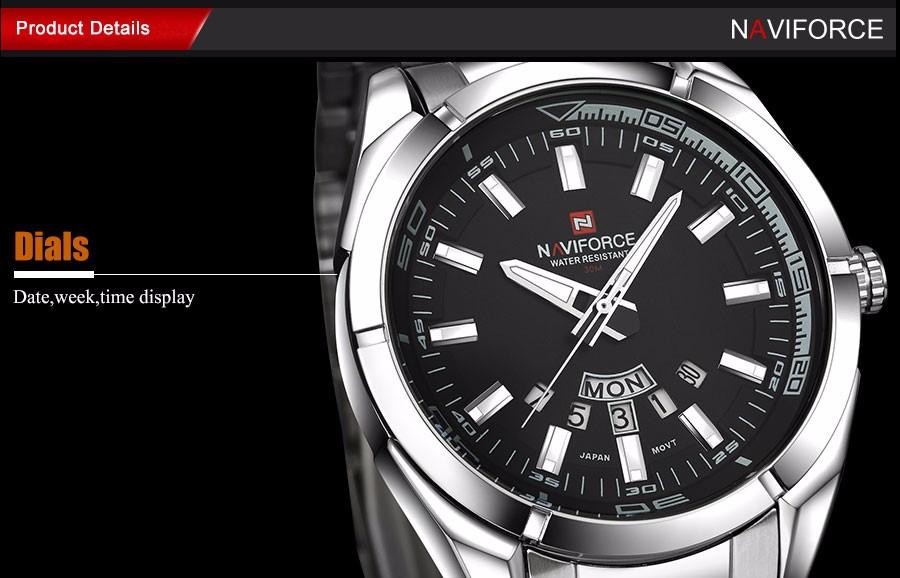 NAVIFORCE Марка Мужчины Часы бизнес Кварцевые 30 М водонепроницаемые часы мужская нержавеющей стали ремешок авто дата наручные часы relojes