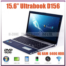 2014 new laptop free shipping 15.6″ ultrabook laptop computer with Intel D2500 Dual core 1.86G Built in DVD-RM 4G RAM 640G HDD