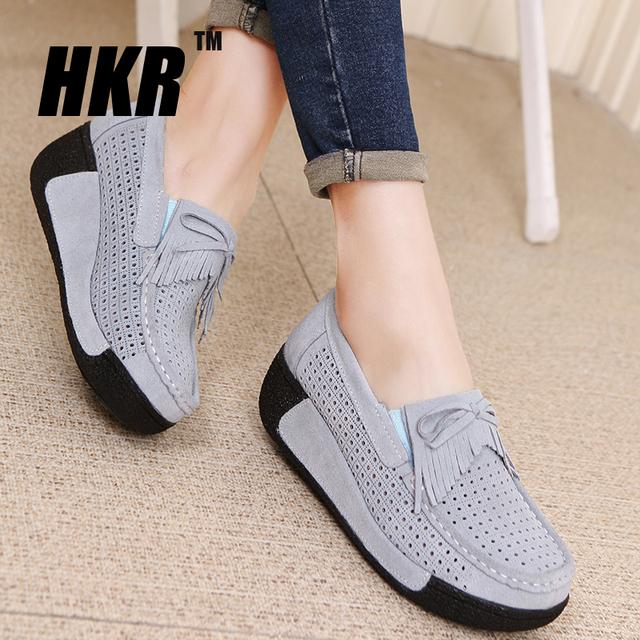 HKR 2016 Лето женщины повседневная обувь женская натуральная кожа платформа квартиры ...