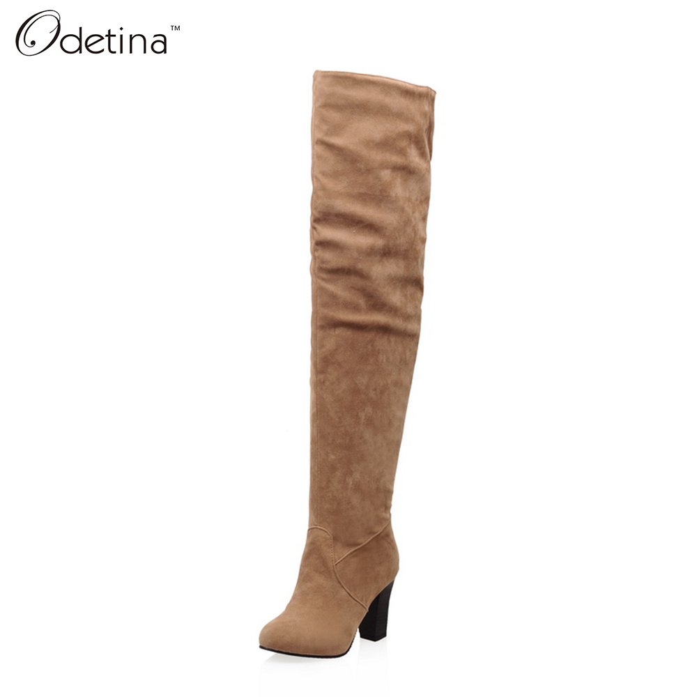 Odetina 2016 New Handmand Winter Large Size Suede Over The Knee Boots Women High Heel Black Zip Up Boots Chunky Heels Round Toe(China (Mainland))