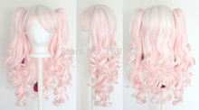 Vocaloid Hatsune Miku Lolita Wig Pig Tails White Light Pink Blend Mix Gothic Sweet ponytai Hairs queen brazilian made Hair wigs(China (Mainland))