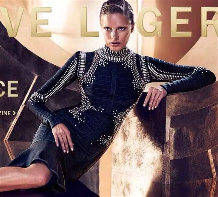 2015 women top quality new celebrity black long sleeve party studded beaded ruffles knee-length bandage dresses wholesale WQ-203