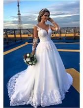 Buy 2016 Sexy V-neck Lace Long Sleeve Wedding Dresses Appliqued Beaded Sweep Train Wedding Bridal Gowns Vestido De Noiva for $189.00 in AliExpress store
