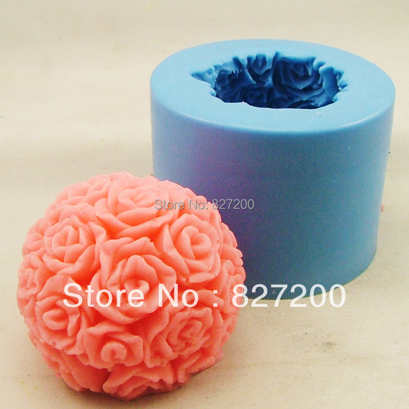 DIY pudding jelly dessert chocolate soap mould polymer clay molds 3D rose ball handmade essential oil candle mould S0004HM37(China (Mainland))