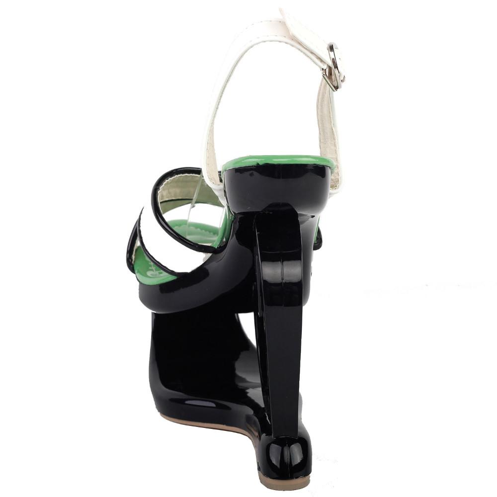 ซื้อ LF40206เซ็กซี่สีดำสีขาวไขว้หัวใจส้นลิ่มรองเท้าแตะพรรคขนาด4/5/6/7/8/9/10