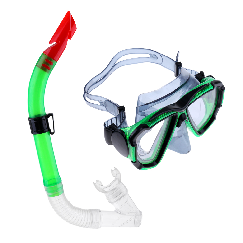 Adults Half Dry Breathing Tube Snorkel & PVC Dive Mask Set for Scuba Diving Snorkeling Swimming Underwater Sports Accessory