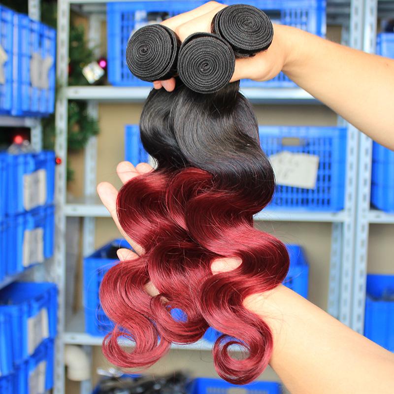 7A Unprocessed Brazilian Virgin Hair Body Wave Ombre Human Hair Extensions Burgundy Brazilian Hair 3Pcs/Lot Brazilian Body Wave