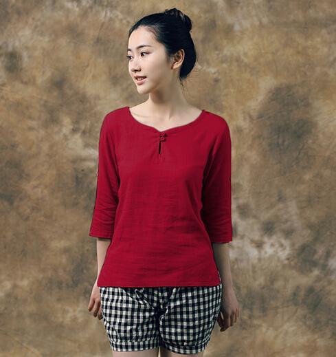 2015 Summer Women Cotton Linen Blouse Short Sleeve Shirt