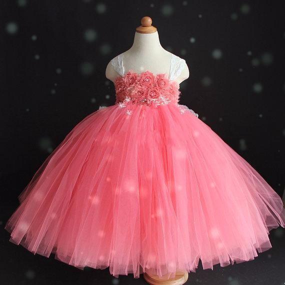 Скидки на Детская одежда Красного Девушка платье Высокого класса Слинг стиль Марли Пачка платье Принцессы/платья с 3D flower ручной работы на заказ
