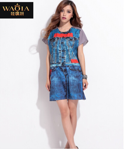 Женское платье WAQIA 2015 o 3D /vestidos женское платье 2015 oficina vestido vestidos waqia