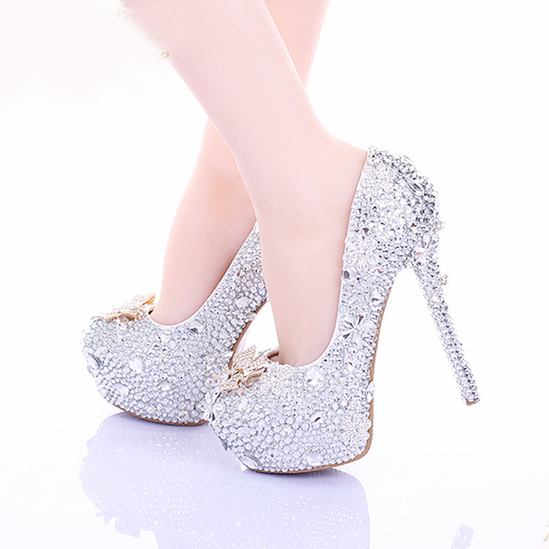 2015 cinderella high heels wedding shoes 14cm thin