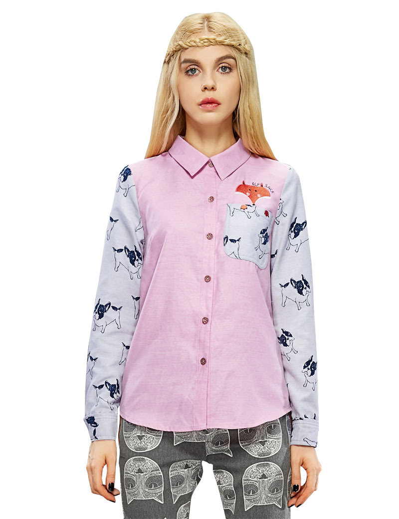 ELF SACK Women Autumn Matchwork Long Sleeve Embroidery Cartoon Cute Blouse 2015 New Fashion Brand Womens Tops And Blouses(China (Mainland))