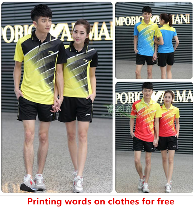For Wholesale Printing words for free 2015 new Li Ning badminton shirt badminton clothes table tennis shirt table tennis clothes(China (Mainland))