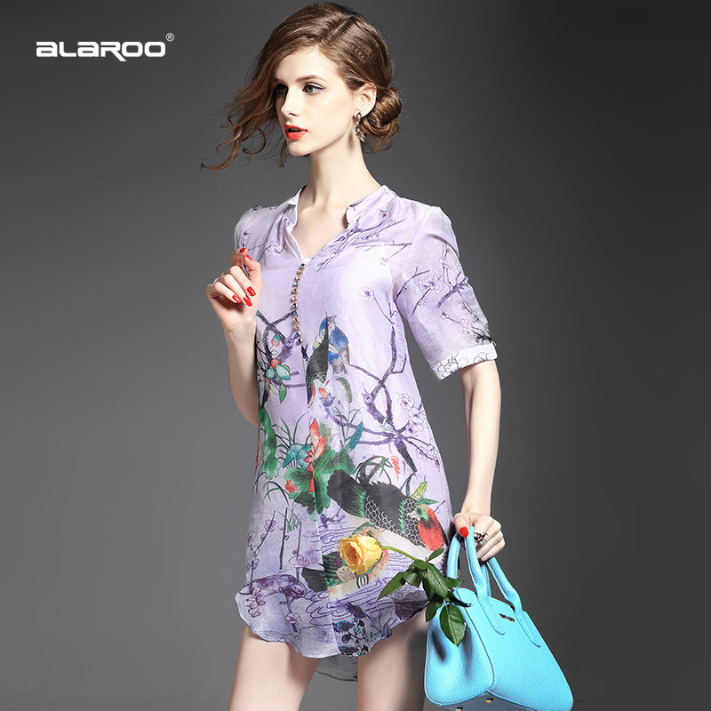 summer style Brand Women 2015 US high-end fashion V-neck silk nail drill step dress linen irregular printing - LADY SARA'S FASHION STORE store