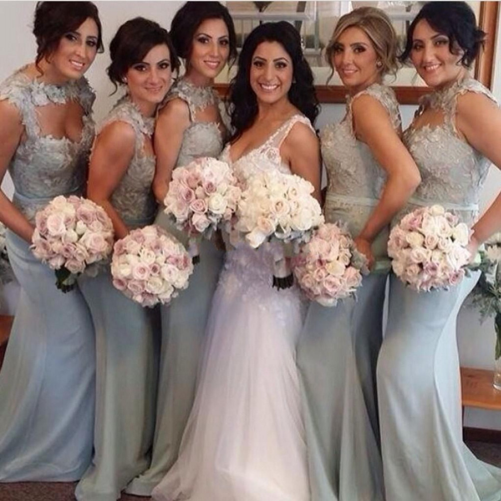 2015 new silver chiffon bridesmaid dress see through high for Silver wedding bridesmaid dresses