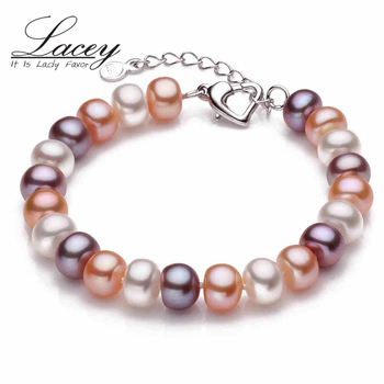 LACEY Real natural Freshwater Pearl Bracelet adjustable button 9-10mm beads cultured real pearl bracelet jewelry Women's Gift
