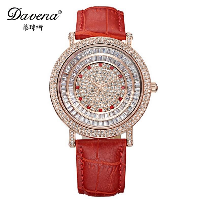 2015 luxury leather Austrian crystal wristwatch women dress rhinestone watches fashion casual quartz watch Davena 30619 clock<br><br>Aliexpress