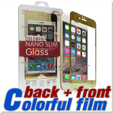 for iPhone 6 6S Front+Back Color Mirror tin colorful Screen Protector Color Mirror Real Tempered Glass Film Screen Protector