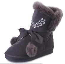 DiJIGirls Invierno de Las Mujeres Botas de Piel Botas de Nieve Del Tobillo 2016 Bola de Cristal Enredaderas Zapatos de Plataforma Calientes Mujer de Deslizamiento En Las Botas(China (Mainland))