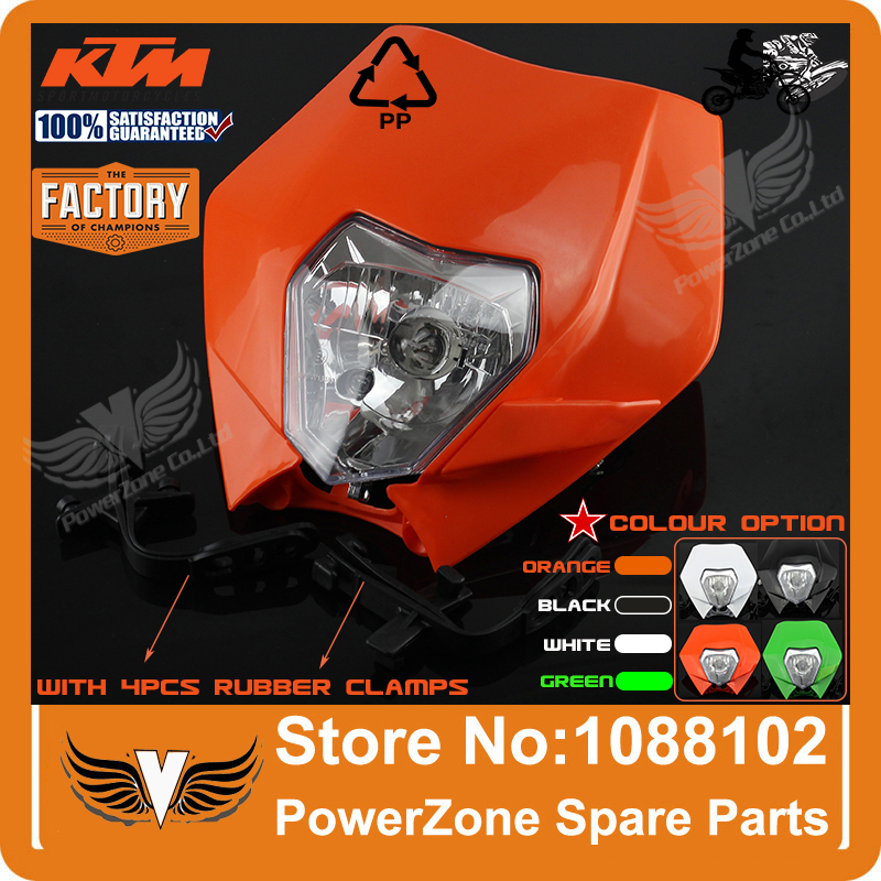 Motorcycle Dirt Bike Motocross Supermoto Universal Headlight KTM SX EXC XCF SXF SMR Headlamp Fairing Free Shipping!(China (Mainland))