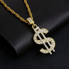 Buy Gold color Hip Hop Bling Bling Dollar Sign Gold color Chain Dollar Rhinestone Pendant Necklace for $3.04 in AliExpress store