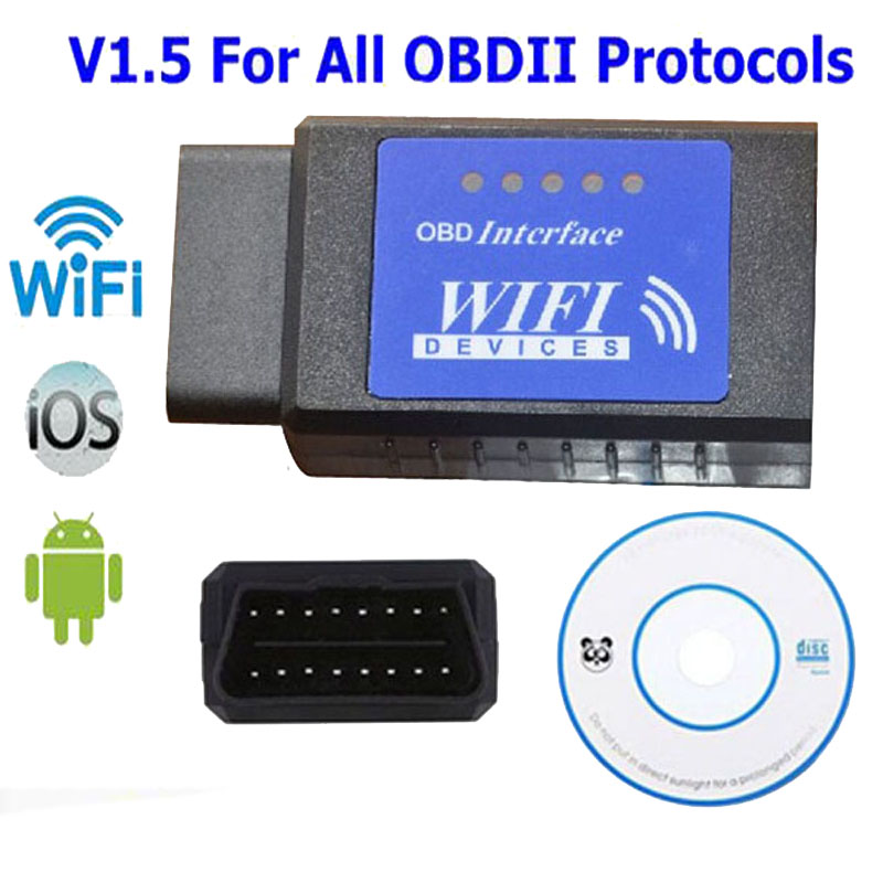 Blue Label ELM327 Wifi Scanner Auto OBD2 Diagnostic Tool ELM 327 WI FI OBDII Scanner V 1.5 Wireless For Both Android IOS PC LR25(China (Mainland))