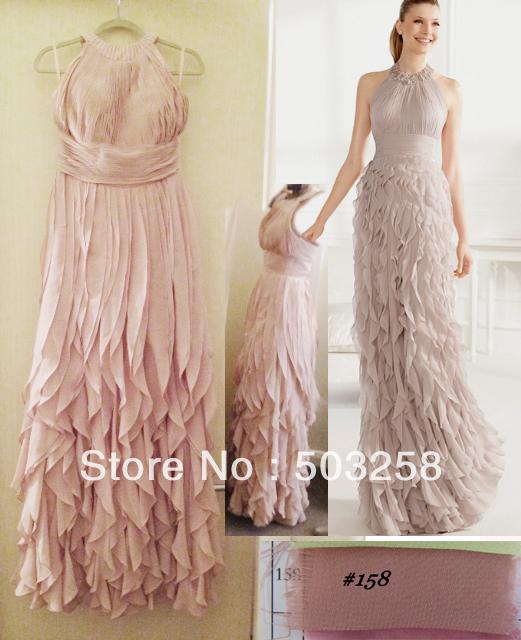 Client order dress modest Halter ruffle ladies modern evening dress(China (Mainland))