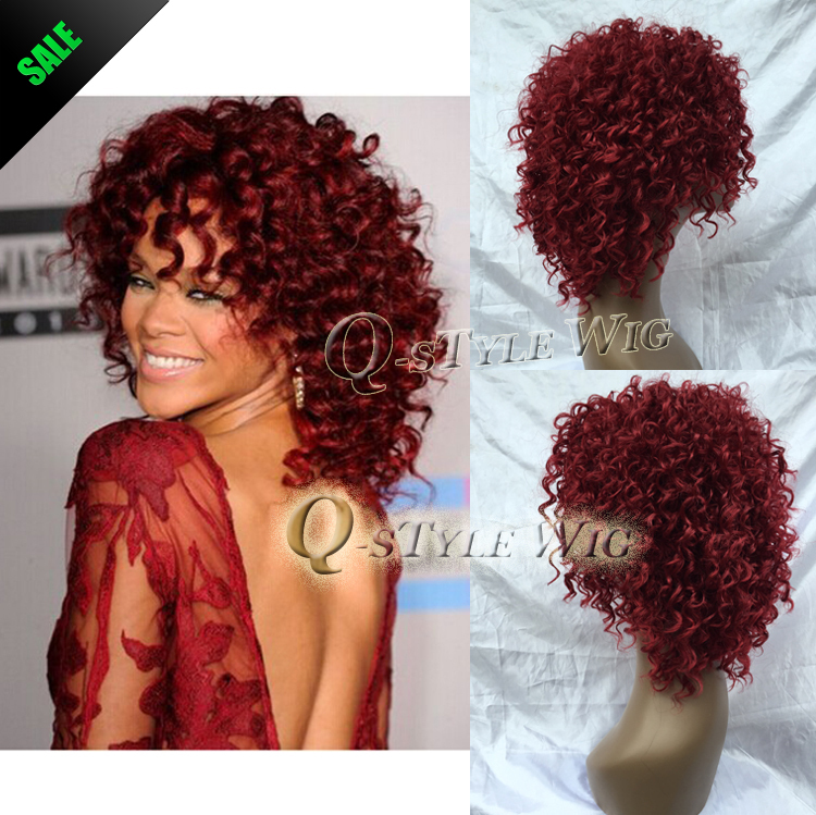 Rihanna short Hairstyle Wigs Red Wine Color Pin Curl Perm Curly Wave Synthetic Hair Wig Salon Full Cap Hair Wigs Free Shipping(China (Mainland))