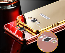 Luxury Gloden Mirror Plating Aluminum Bumper Frame +Acrylic PC Back 2 1 Cover Case Samsung Galaxy J 3 J3 J2 J1 Ace - Cosplay Store store