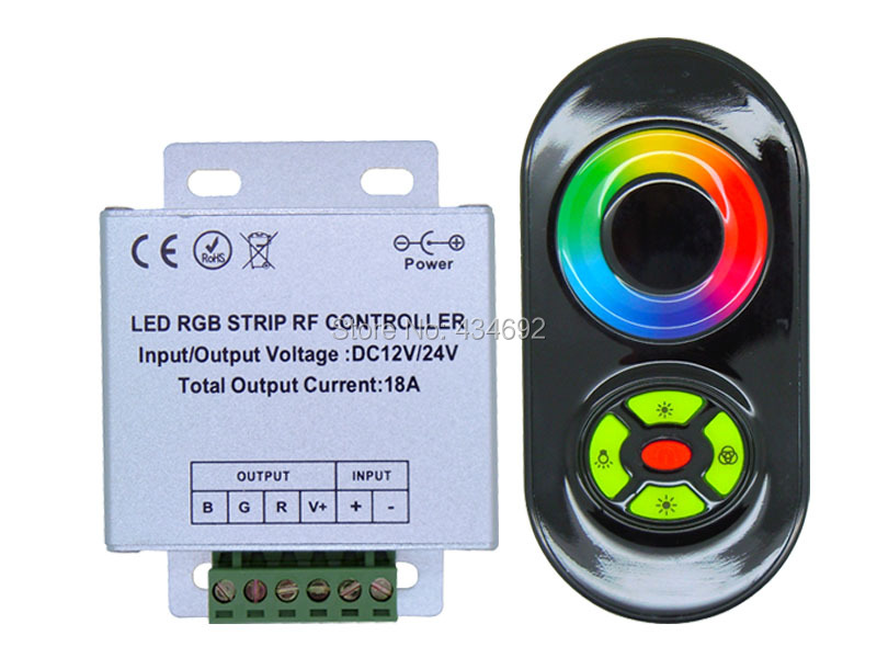 Black Double Modes RF RGB LED Controller with Press & Touch Remote Control Panel For RGB LED Light Strips(China (Mainland))