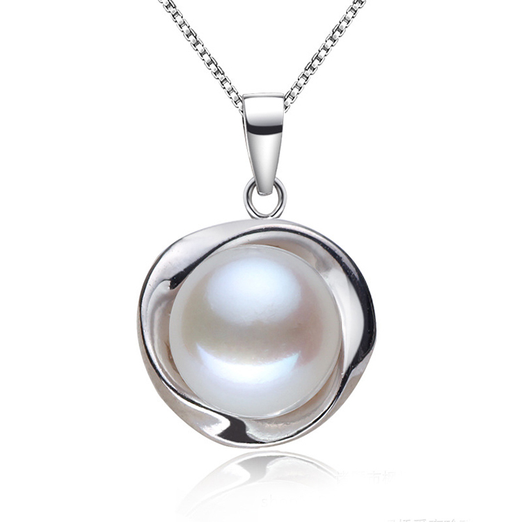 Classic 9-10mm natural white pearl necklace&pendant genuine platinum plated jewelry for girls top quality with gift box(China (Mainland))
