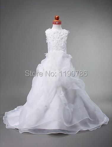 Blanc Organza balayage Train fleur robes avec des fleurs première Communion robes pour filles robe de daminha(China (Mainland))