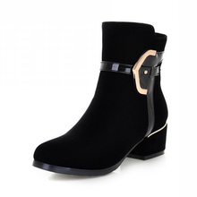 New Fashion Black Punk Rock Round toe thick high Heels Ankle Boots female warm women shoes Elegant snow boots drop shipping