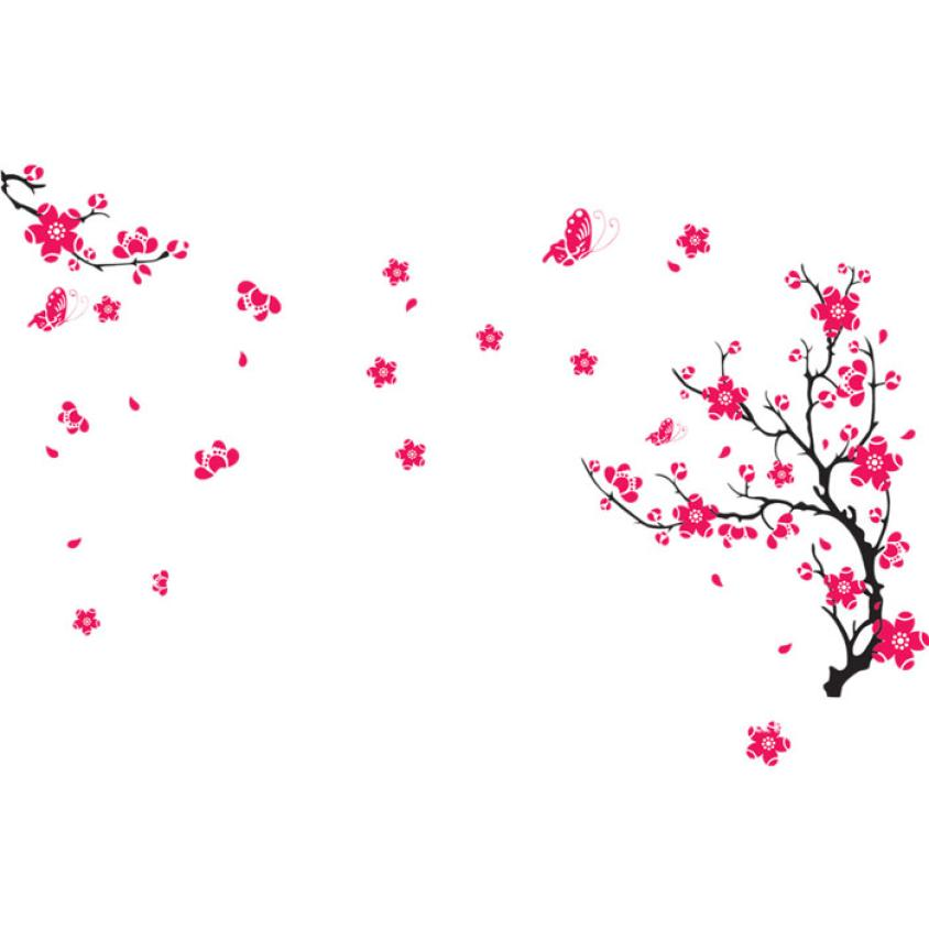 New Qualified Fresh Nature Plum Blossom Wall Sticker Decal Removable PVC Wall Sticker Home Decor dec21