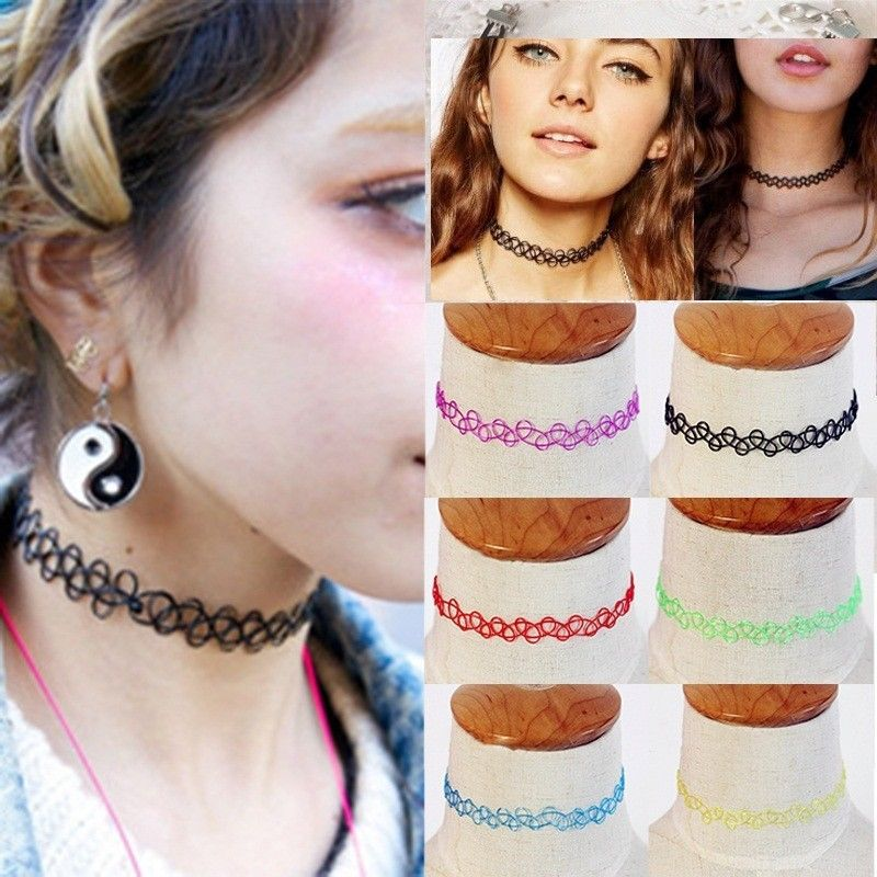50PCS/Lot Mixed colors Vintage hippy stretch Magic tattoo choker necklace Retro elastic chocker Henna