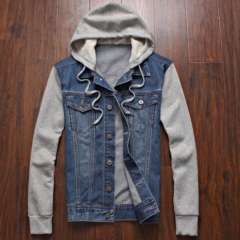 High Quality Denim Jacket with Hoodie Men-Buy Cheap Denim Jacket