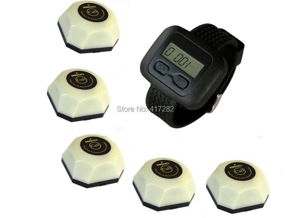 wireless waiter service calling system,for restaurant,coffee shop,bar and so on, 5 buttons and one watch