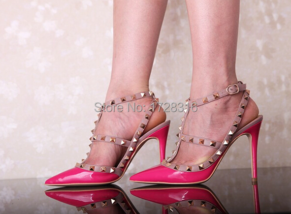 fashion rivet shoes sexy studs woman pumps pointed toe high heels women big size 41 42 double two belts ankle straps - Super VIP shoe store