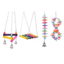 Bird parrot colorful wood stand climbing ladder toy parrot swing toys parrot supplies 2015 new arrival 4 types 1 pieces(China (Mainland))