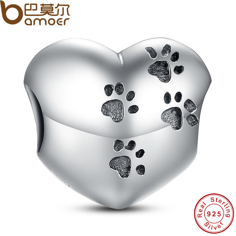 925 Sterling Silver My Sweet Pet Paw Print Charm Fit Bracelet Necklace Heart Bead Accessories Jewelry Making PAS001(China (Mainland))