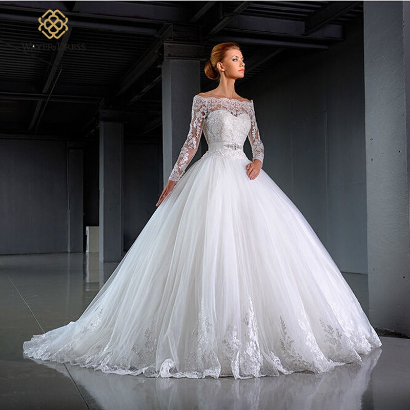 Ball Gown Wedding Dresses With Long Sleeves : Buy new arrival princess ball gown long sleeves bride wedding dresses
