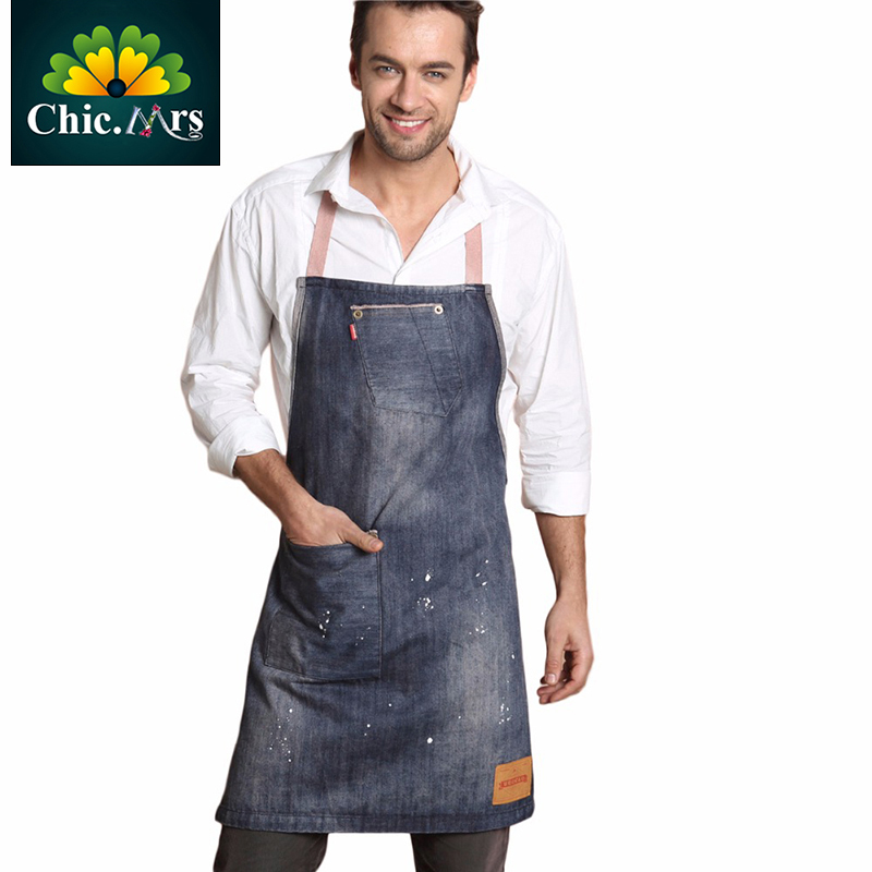 Waitress Chef Man Shop Kitchen Cooking Cupcake Denim Apron For Women Sexy Cooking Kitchen Work Beauty Salon Apron For jeans(China (Mainland))