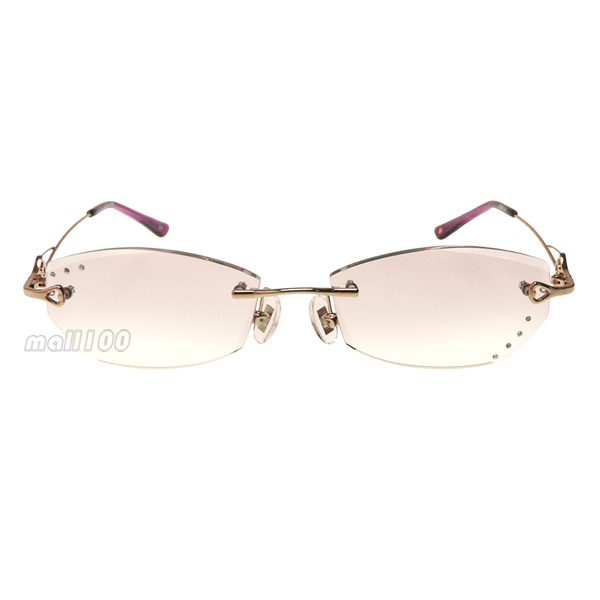 Pink Rhinestone Inlaid Coating Lens Gold Frame Frameless ...