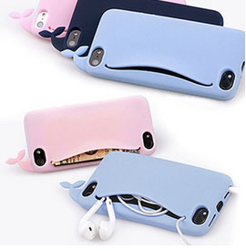 For iPhone6 i6 5 5s Case 3D Cute Whale for iPhone 6 4.7 5 5s Case Silicone Storage Back Cover Headphones Housing Card Holder(China (Mainland))