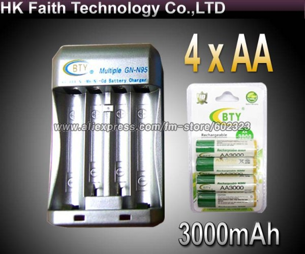 Hi-speed Quick AA AAA Rechargeable Battery BTY Charger +4x AA 3000mAh 1.2V NI-MH Rechargeable Battery BTY<br><br>Aliexpress
