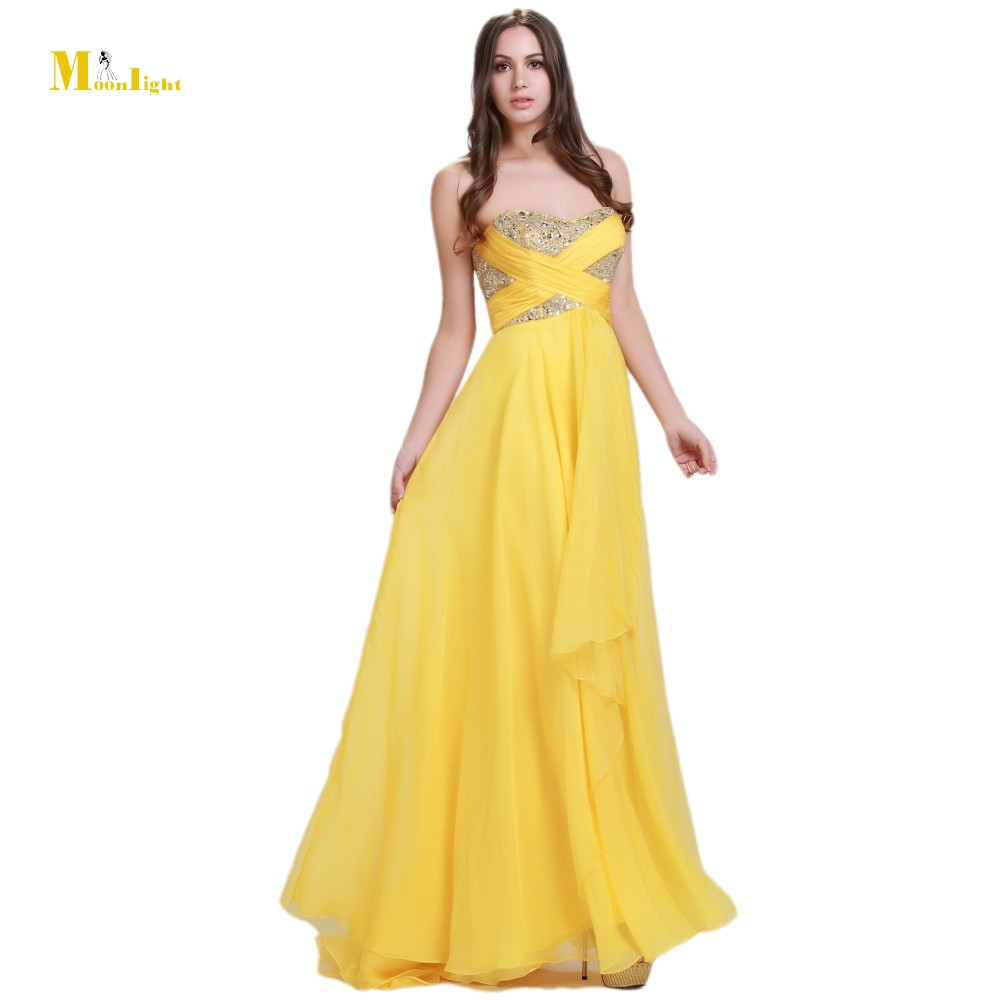 Mon 688 bright yellow prom dresses long ribbons ruffles a for Three floor yellow dress